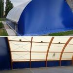 Copertura in legno lamellare per la piastra del Palazzetto dello Sport